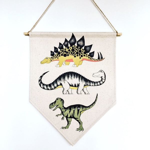 Dinosaur Banner - 'Triple Dinosaur', by Dino Raw. Australian Art Prints. Green Door Decor. www.greendoordecor.com.au