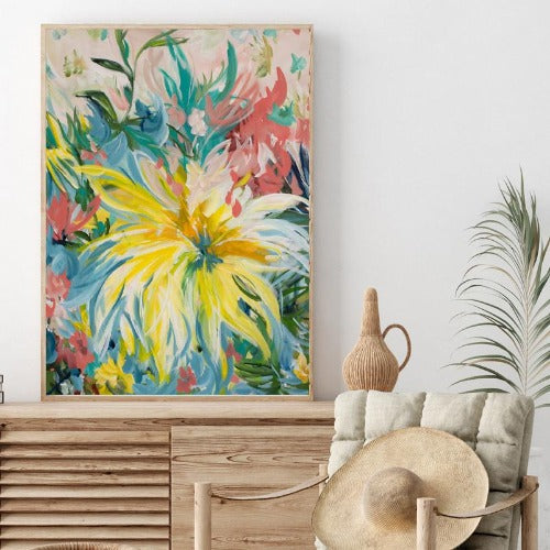 Big Yellow Flower Portrait Print by Amber Gittins. Australian Art Prints. Green Door Decor. www.greendoordecor.com.au