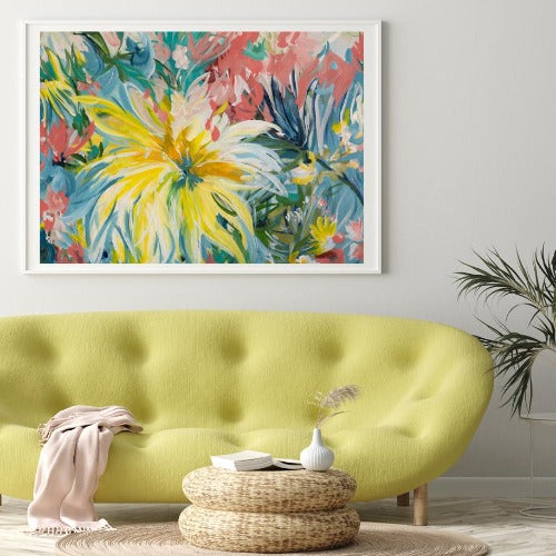 Big Yellow Flower, by Amber Gittins. Australian Art Prints. Green Door Decor. www.greendoordecor.com.au
