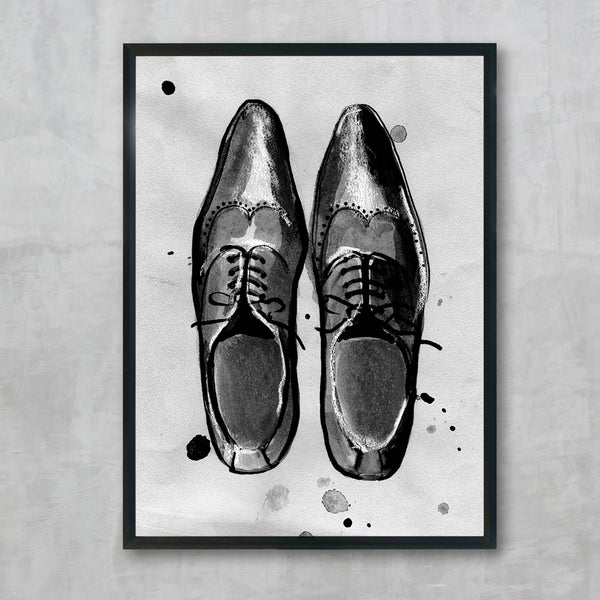 Black Brogues print, by Susan Kerian Fashion Illustrator. Australian Art Prints. Green Door Decor. www.greendoordecor.com.au