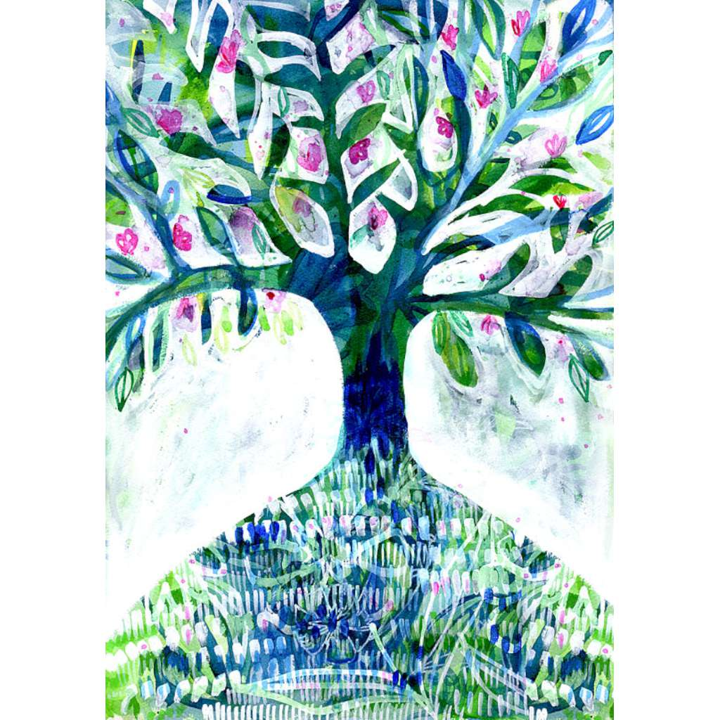 Blue Floral Tree Print - unframed - by Paula Mills Art. Australian Art Prints. Green Door Decor. www.greendoordecor.com.au