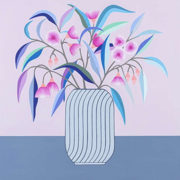 Blue Gum Pink Blossom Print, by Claire Ishino. Australian Art Prints. Green Door Decor. www.greendoordecor.com.au