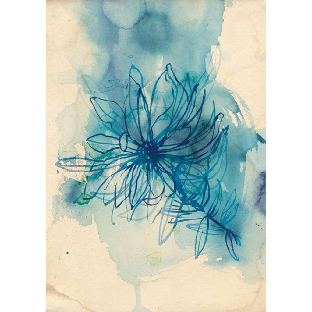 Blue Wash Wildflower - unframed - by Paula Mills Art. Australian Art Prints. Green Door Decor. www.greendoordecor.com.au