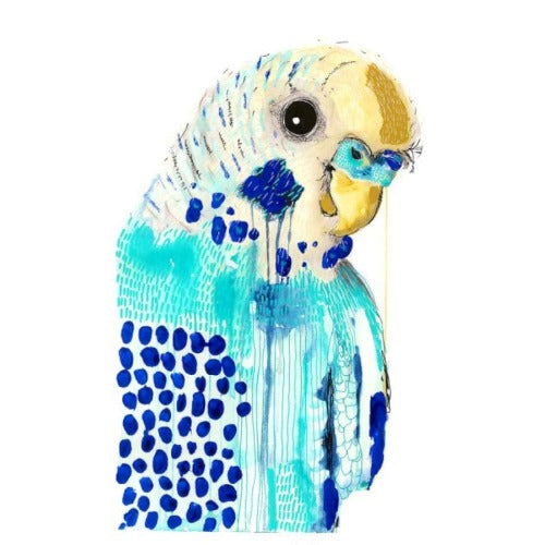 Bluey on White by Grotti Lotti. Australian Art Prints. Green Door Decor.  www.greendoordecor.com.au