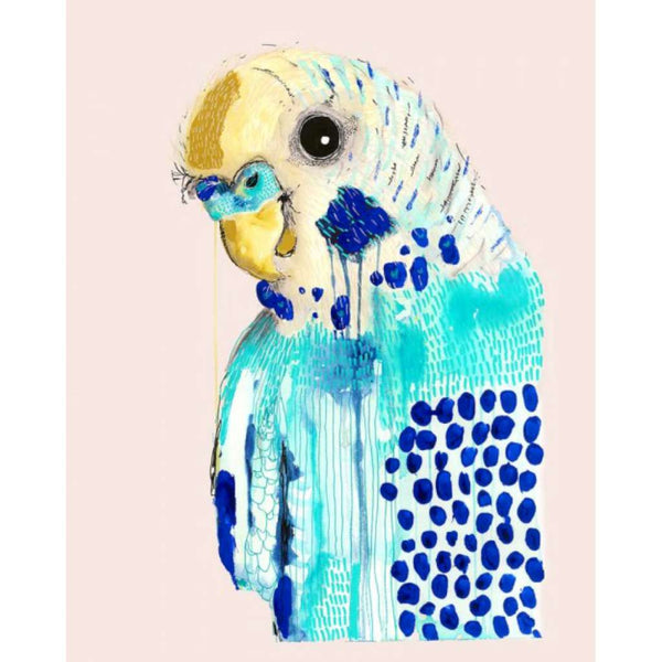 Bluey on Blush by Grotti Lotti. Australian Art Prints. Green Door Decor.  www.greendoordecor.com.au