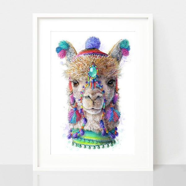 Bohemian Alpaca-Spirit Animal Series, by Earthdrawn Studio. Australian Art Prints. Green Door Decor.  www.greendoordecor.com.au