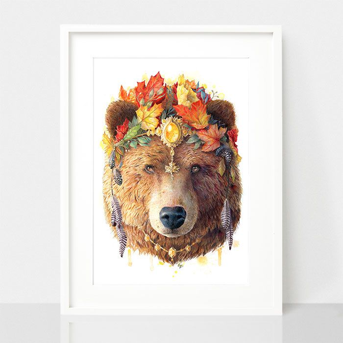 Bohemian Bear - Spirit Animal Series, by Earthdrawn Studio. Australian Art Prints. Green Door Decor.  www.greendoordecor.com.au