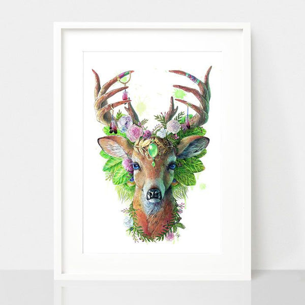 Bohemian Deer-Spirit Animal Series, by Earthdrawn Studio. Australian Art Prints. Green Door Decor.  www.greendoordecor.com.au