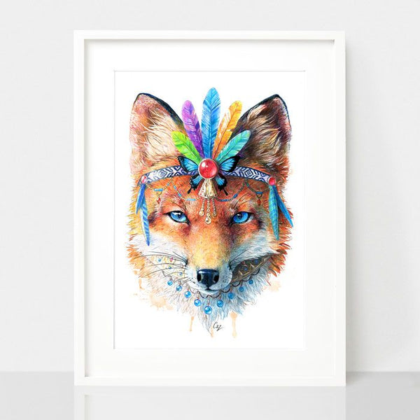 Bohemian Fox-Spirit Animal Series, by Earthdrawn Studio. Australian Art Prints. Green Door Decor.  www.greendoordecor.com.au