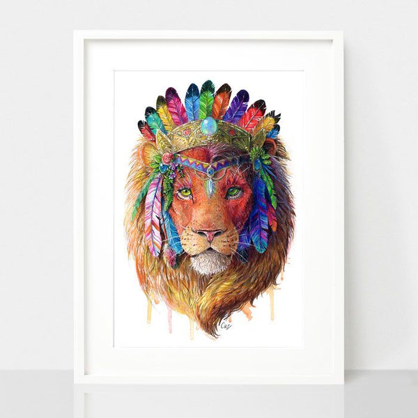 Bohemian Lion-Spirit Animal Series, by Earthdrawn Studio. Australian Art Prints. Green Door Decor.  www.greendoordecor.com.au