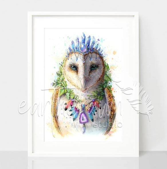 Bohemian Owl white frame, by Earthdrawn Studio.. Australian Art Prints. Green Door Decor.  www.greendoordecor.com.au