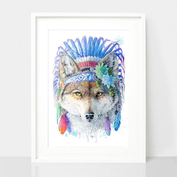 Bohemian Wolf - Spirit Animal Series, by Earthdrawn Studio. Australian Art Prints. Green Door Decor.  www.greendoordecor.com.au
