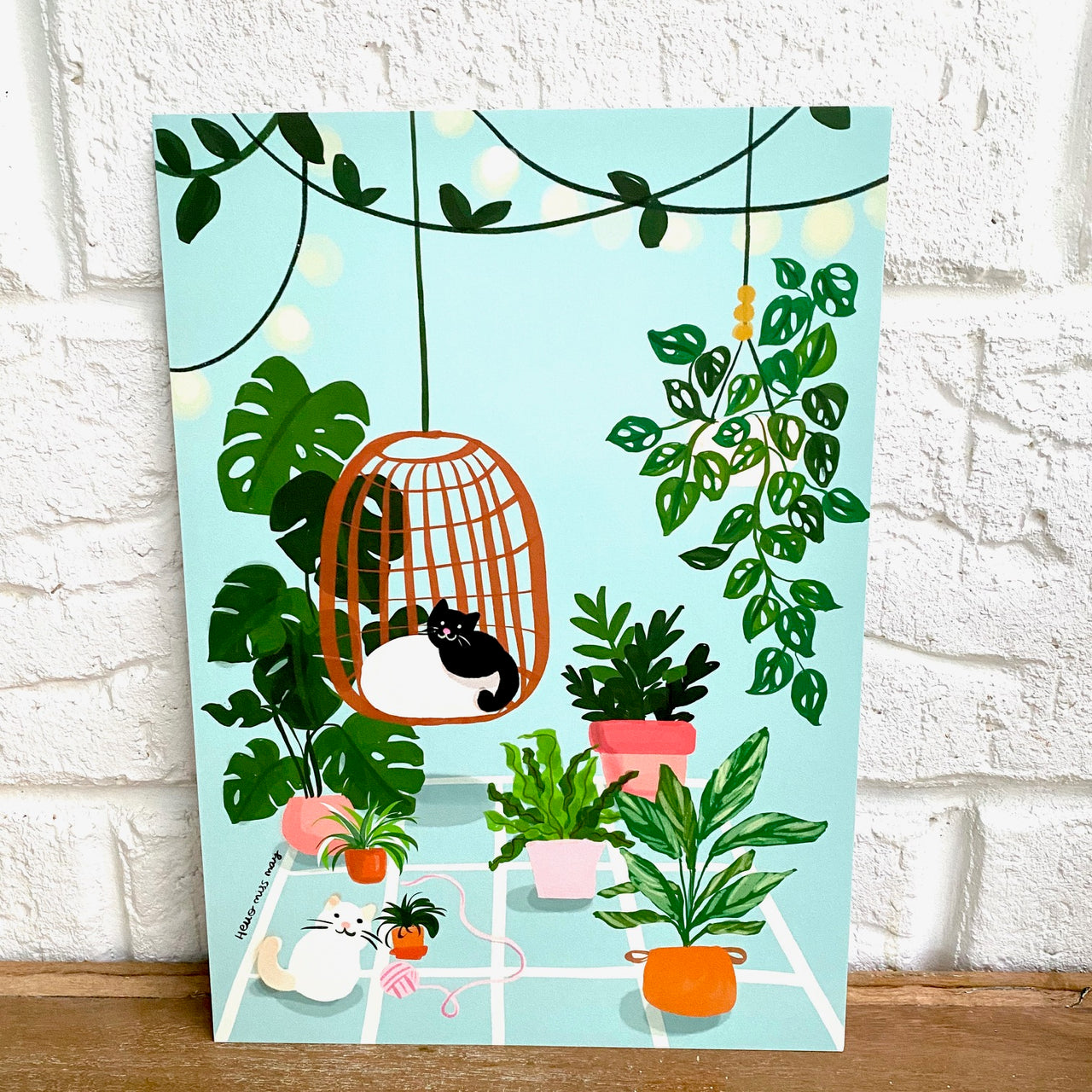 Botanical Home with Two Cats print, by Hello Miss May. Australian Art Prints. Green Door Decor. www.greendoordecor.com.au