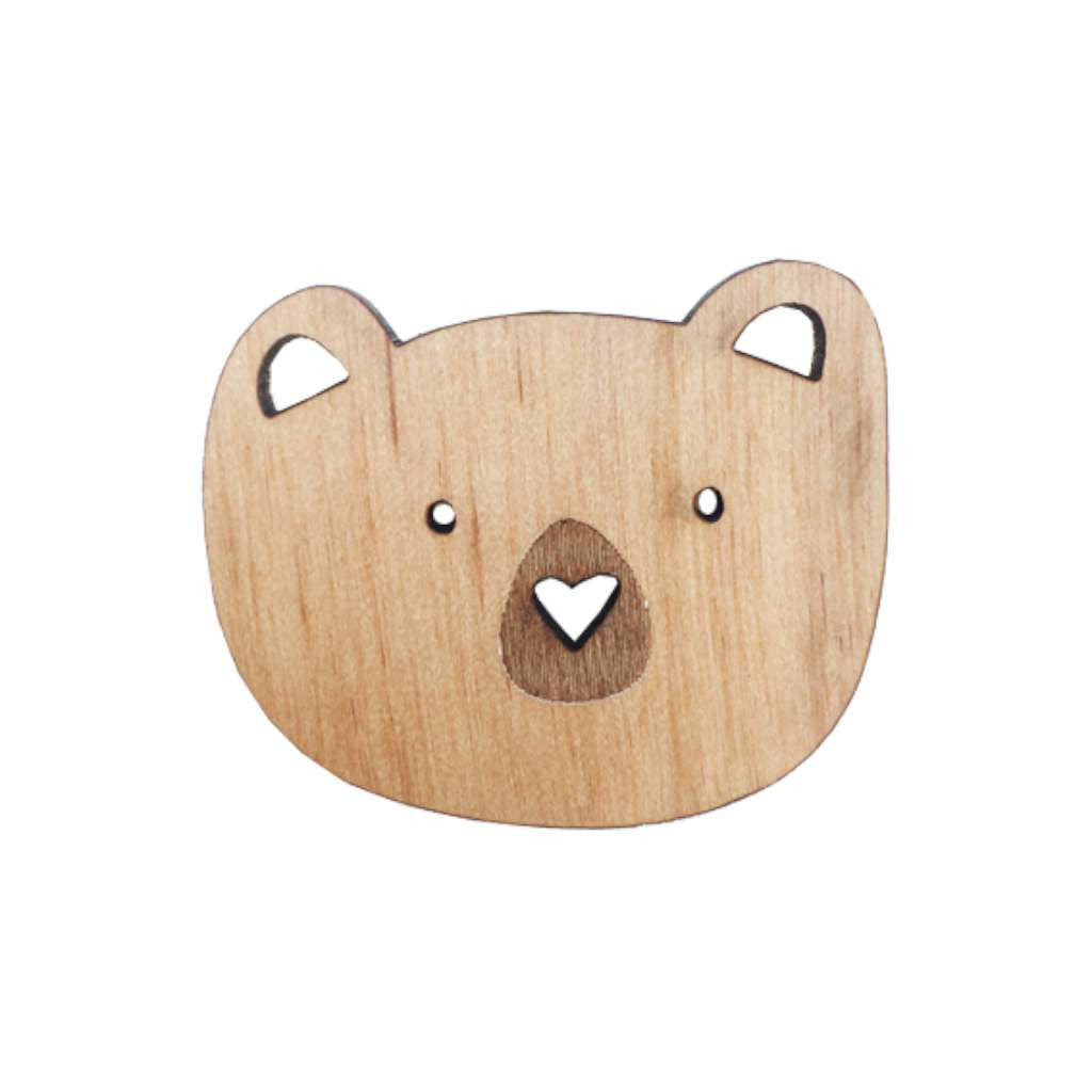 Wooden Brooch - Bear Face
