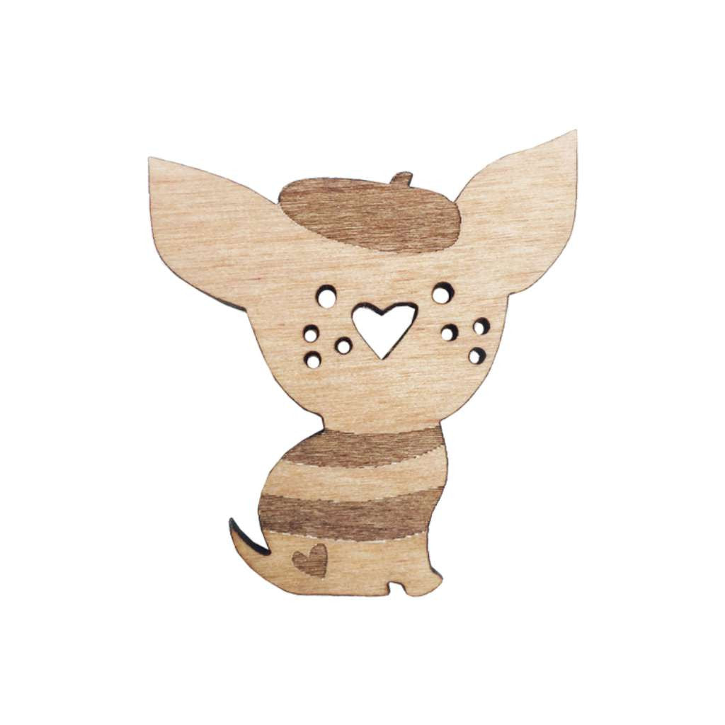 Wooden Brooch - Chihuahua