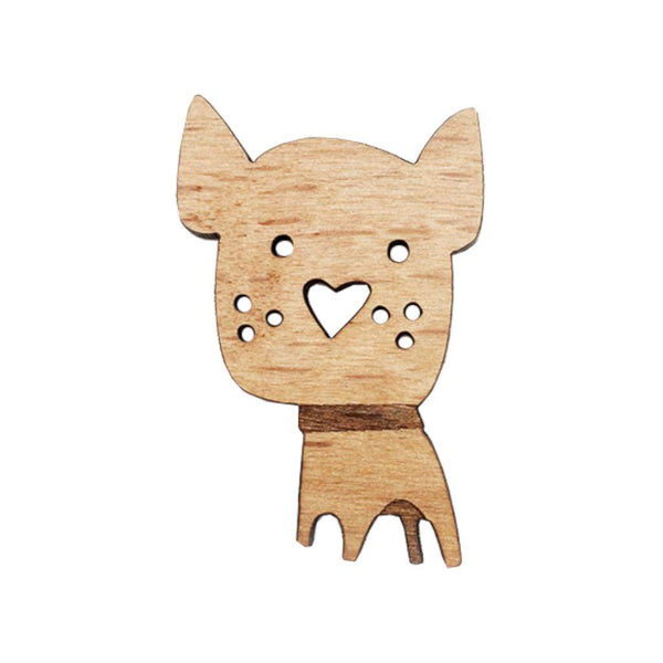 Wooden Brooch - Dog