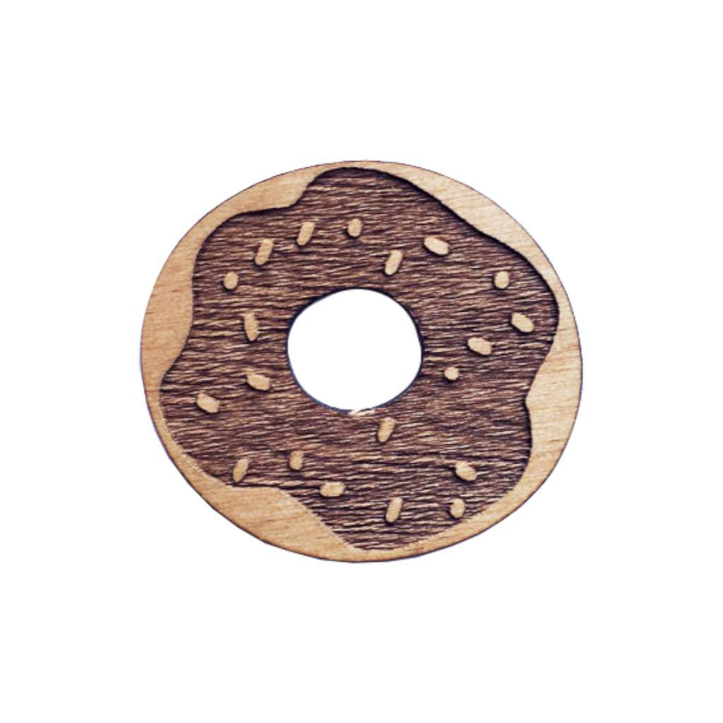 Wooden Brooch - Donut
