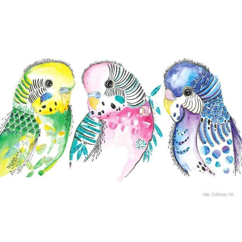Budgies All in One, by Kylie Ferriday. Australian Art Prints. Green Door Decor.  www.greendoordecor.com.au