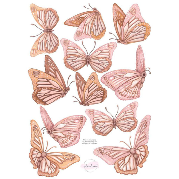 Butterflies 'Morning Sun' Fabric Wall Decals, by Isla Dream. Australian Art Prints. Green Door Decor. www.greendoordecor.com.au