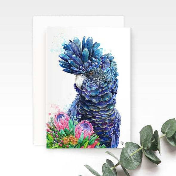 Black Cockatoo greeting card, by Earthdrawn Studio. Australian Art Prints. Green Door Decor. www.greendoordecor.com.au