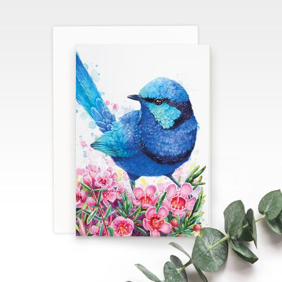 Blue Wren greeting card, by Earthdrawn Studio. Australian Art Prints. Green Door Decor. www.greendoordecor.com.au