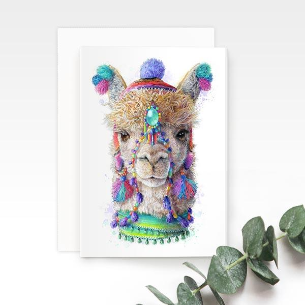Bohmenian Alpaca Llama greeting card, by Earthdrawn Studio. Australian Art Prints. Green Door Decor. www.greendoordecor.com.au