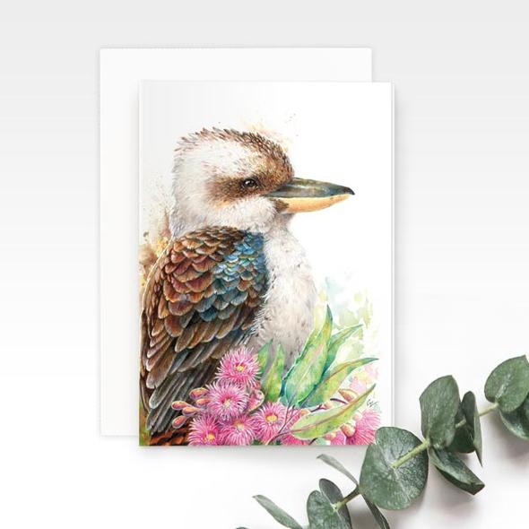 Kookaburra greeting card, by Earthdrawn Studio. Australian Art Prints. Green Door Decor. www.greendoordecor.com.au
