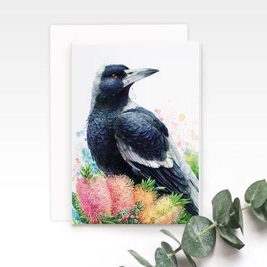 Magpie greeting card, by Earthdrawn Studio. Australian Art Prints. Green Door Decor. www.greendoordecor.com.au