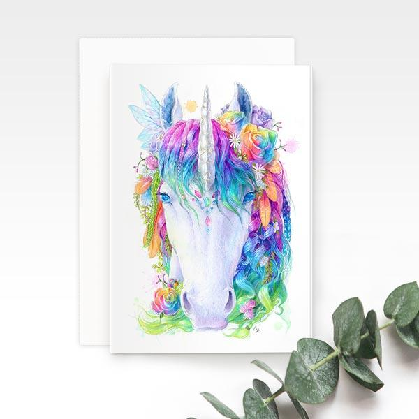 Rainbow Unicorn greeting card, by Earthdrawn Studio. Australian Art Prints. Green Door Decor. www.greendoordecor.com.au