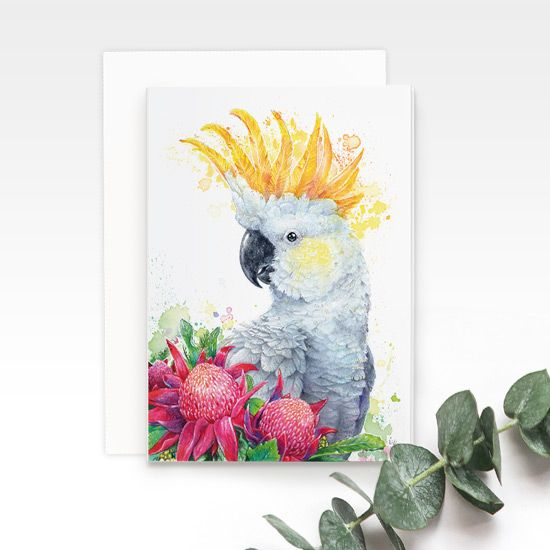 White Sulphur Crested Cockatoo greeting card, by Earthdrawn Studio. Australian Art Prints. Green Door Decor. www.greendoordecor.com.au