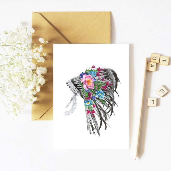 McMurtrie Illustrations Card - Indian Florals Headdress