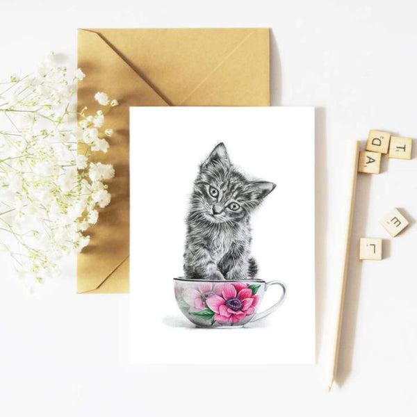 McMurtrie Illustrations Card - Kitten in a Cup