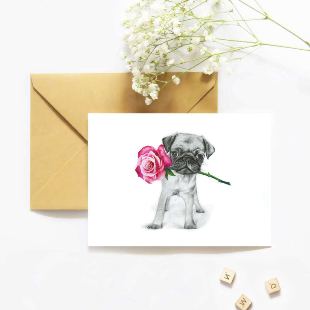 McMurtrie Illustrations Card - Polly the Pug