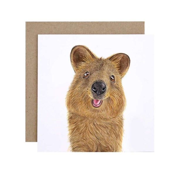 Quentin the Quokka card, by For Me By Dee. Australian Art Prints. Green Door Decor.  www.greendoordecor.com.au