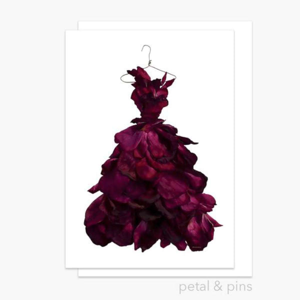 Petal & Pins Card - Red Wine Rose Gown