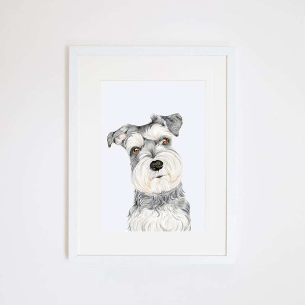 Chloe the Schnauzer, by For Me By Dee. Australian Art Prints. Green Door Decor.  www.greendoordecor.com.au