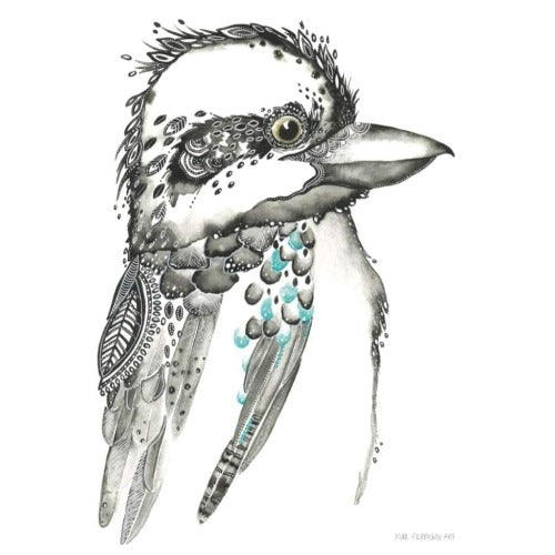 Clyde the Kookaburra print 1, by Kylie Ferriday. Australian Art Prints. Green Door Decor.  www.greendoordecor.com.au