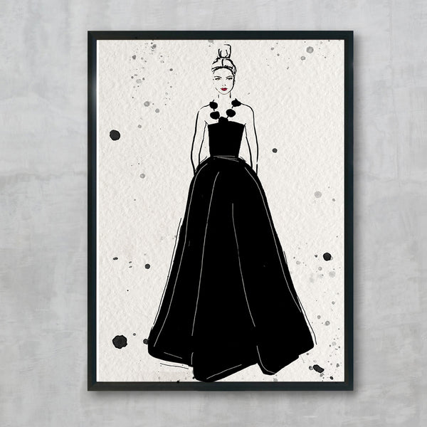 Danielle - black print, by Susan Kerian Fashion Illustrator. Australian Art Prints. Green Door Decor. www.greendoordecor.com.au