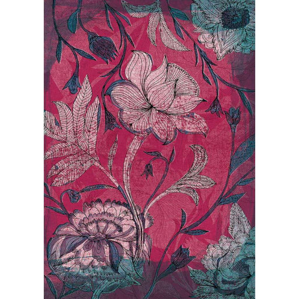 Deep Red Indian Floral Pattern