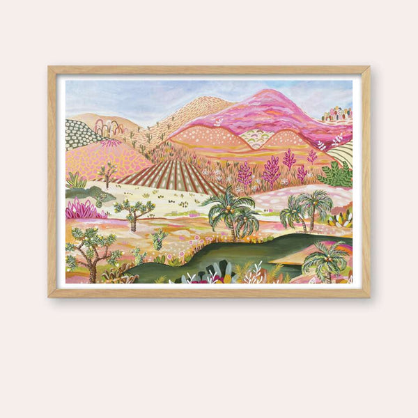 Desert Oasis Print - framed - by Daniela Fowler Art. Australian Art Prints and Homewares. Green Door Decor. www.greendoordecor.com.au