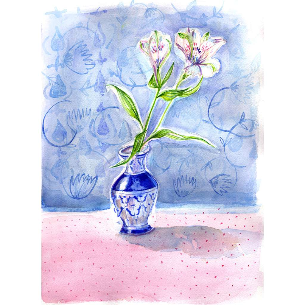 Dotty Blue Vase - unframed - by Paula Mills Art. Australian Art Prints. Green Door Decor. www.greendoordecor.com.au