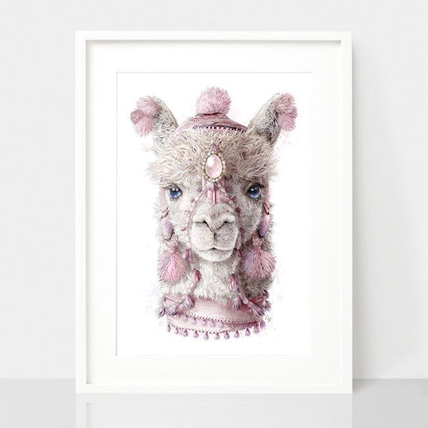 Bohemian Alpaca-Dusty Pink, by Earthdrawn Studio. Australian Art Prints. Green Door Decor.  www.greendoordecor.com.au
