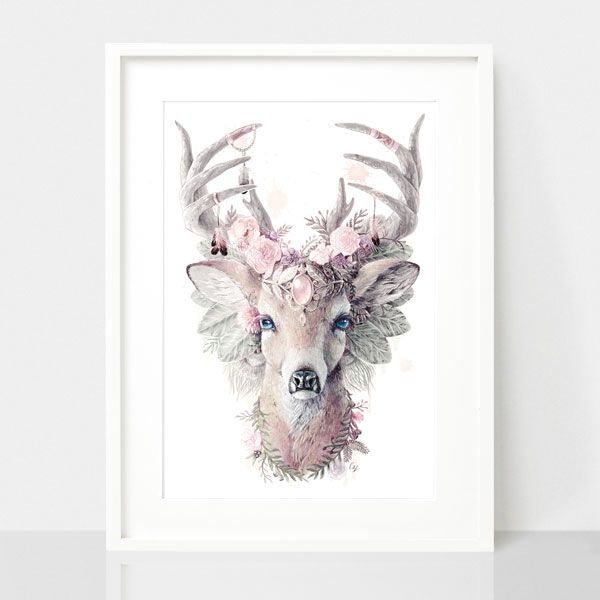 Bohemian Deer-Dusty Pink, by Earthdrawn Studio. Australian Art Prints. Green Door Decor.  www.greendoordecor.com.au