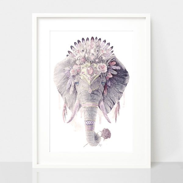 Bohemian Elephant-Dusty Pink, by Earthdrawn Studio. Australian Art Prints. Green Door Decor.  www.greendoordecor.com.au