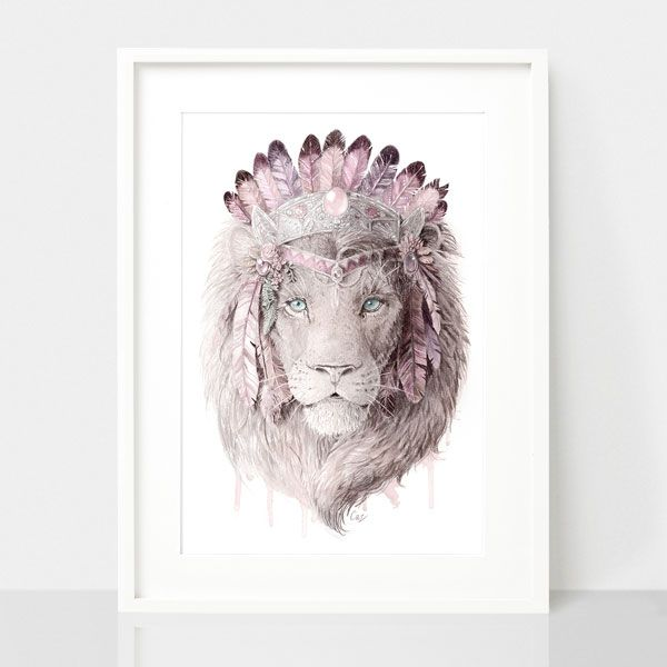 Bohemian Lion-Dusty Pink, by Earthdrawn Studio. Australian Art Prints. Green Door Decor.  www.greendoordecor.com.au