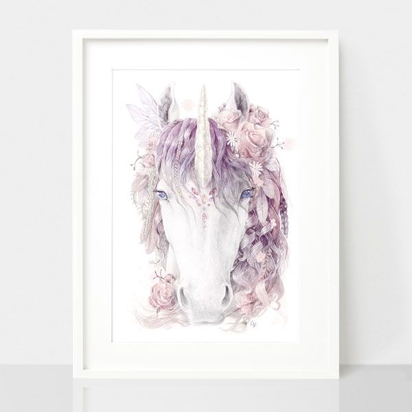 Floral Bohemian Unicorn-Dusty Pink, by Earthdrawn Studio. Australian Art Prints. Green Door Decor.  www.greendoordecor.com.au