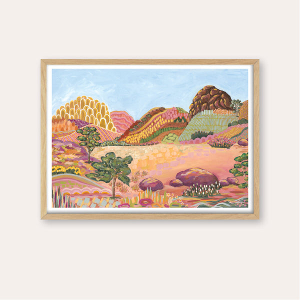 Earthy Outback Ranges Fine Art Print - framed - by Daniela Fowler Art. Australian Art Prints. Green Door Decor. www.greendoordecor.com.au