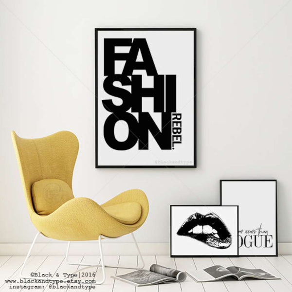 Fashionista set of 3, by Black & Type. Australian Art Prints. Green Door Decor.  www.greendoordecor.com.au