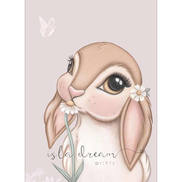 Fawn Bunny - lilac background, by Sailah Lane. Australian Art Prints. Green Door Decor.  www.greendoordecor.com.au