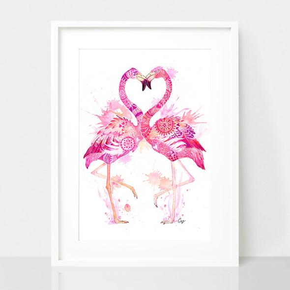 Flamingo Love print, by Earthdrawn Studio. Australian Art Prints. Green Door Decor. www.greendoordecor.com.au